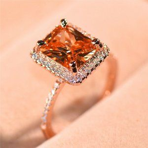 New Rose Gold Filled  Emerald Cut Crystal Ring